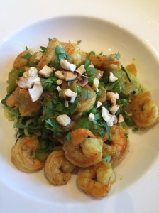 Zucchini noodles topped with shrimp curry!